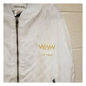 caesars palace Jackets & Coats - VTG Caesars Palace White Gold Logo Full Zip Jacket